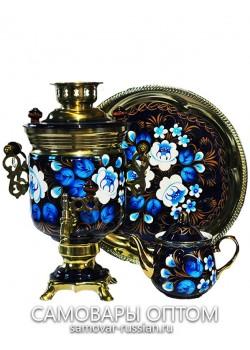 """Электрический самовар в наборе """"Сказочные цветы на синем"""" с росписью 3 литра""""Банка"""""""