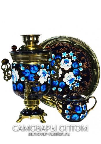"""Электрический самовар в наборе """"Сказочные цветы на синем"""" с росписью 3 литра """"Банка"""""""